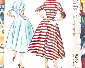 Vintage 1950s Womens Full Skirt Dress Pattern - McCalls 9540