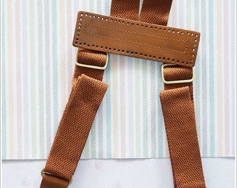 Genuine Brown Leather Backpack Strap with Cotton webbing Handle Bag Supply