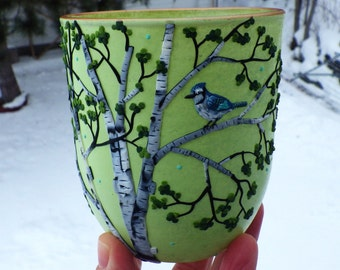 Tiny Blue Jay in a Birch Tree Sculpted withPpolymer Clay onto a Recycled Glass Candle Holder in Light Lime