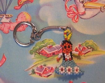 tiny beaded american indian key chain
