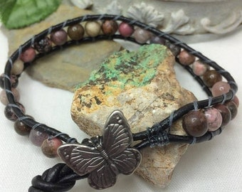 Rhodonite Gemstone Hand Sewn Leather Wrap Bracelet Metal Butterfly Button Clasp