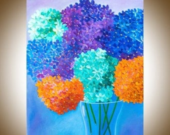 """Giclee prints gift for her original oil painting wall art Wall decor home decor """"Hydrangeas in Vase"""" by QIQIGallery"""