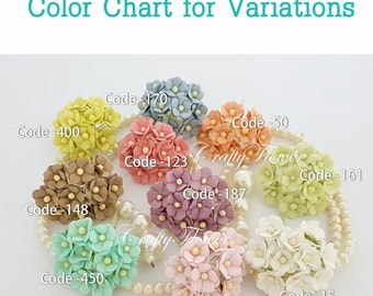 50 Small Mulberry Paper Flowers for Baskets Scrapbooks Wedding Faux Cupcake Cards Dolls Crafts Roses 426/zS10