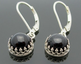 Black Tourmaline Earrings in Silver with Genuine Gems, 8mm