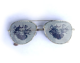 Shpongle face cosmic stencil graphic aviator shades