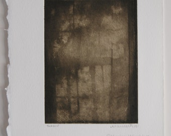 Shadow-Handpulled Etching Original Artwork Gothic Dreamy Abstract