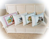 Miniature Pillows...1:12 Scale Pillows...Single Oblong Linen Picture Cushion...Choose your cushion