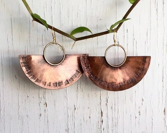 Large Half Moon Earrings, Crescent Moon Earrings, Copper Bronze Earrings, Pendulum Earrings, Handmade Copper Jewelry,