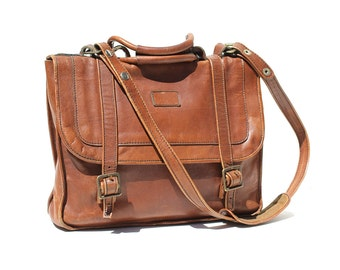 Vintage Abbey Brown Leather briefcase / Messenger Bag