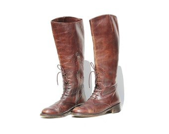 Vintage Italian Brown Leather Tall Boots / Charles David Boots / size 8 B