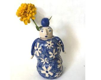 Blue flower lady vase
