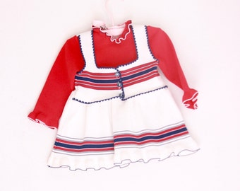 Vintage toddler girl's dress red white and blue knit 12 to 18 months