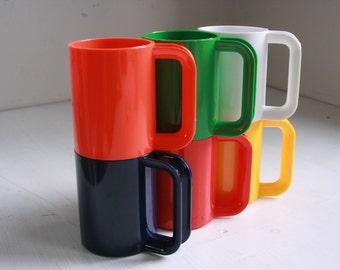 Vintage set of mugs Ingrid party mugs set of 6 rainbow colors