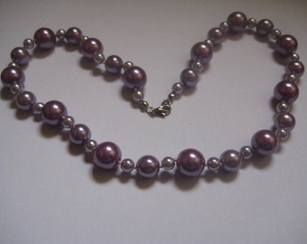 Lilac Faux Pearl Single Strand Necklace 18 Inch Necklace Glass Beads
