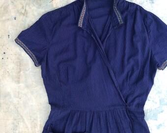 indigo overdyed ca. 1930s - 1940s homesewn seersucker dressing gown / maxi wrap dress