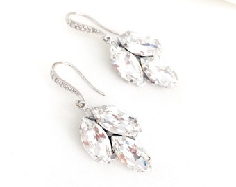 Swarovski Leaf Rhinestone Drop Bridal Earrings, wedding earrings, swarovski jewelry, art deco earrings for bride
