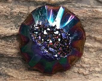 Carved Rainbow Titanium Druzy Cabochon