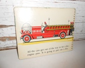 Vintage Fire Truck Picture, Vintage Train Picture, Vintage Book Page from Stop-Look-Listen, Childrens Book Page, Nursery Decor