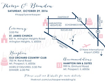 Wedding Map Custom Design / Printable DIY digital PDF / Event Party / Ceremony to Reception