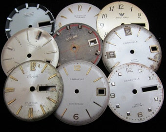 Vintage Antique Watch Dials Steampunk  Faces Parts Altered Art Industrial H 33