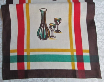 Vintage Tea Towel Kitchen Linens Retro Table Runner Decanter Glasses Dish Towel 1940's Hand Towel Victory KB Tag Vintage Linens