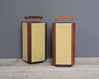 Mid Century Wood Hurricane Candle Holders, Pair