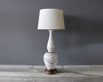 Tall Glass Faux Marble Metallic Swirl Lamp
