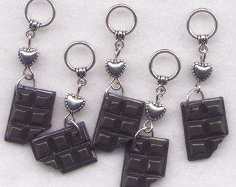 Dark Chocolate Knitting Stitch Markers Love Chocolate Bar Candy Set of 5 /SM130C