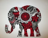 Large Elephant Iron On Fabric Applique Patch