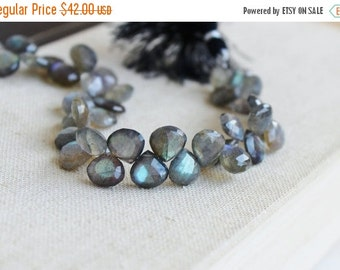 Clearance SALE Labradorite Gemstone Briolette Grey Faceted Heart Top Drilled 10.5 to 11mm 22 beads