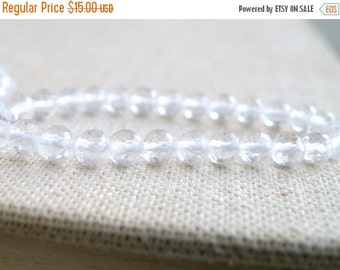 Mega SALE Rock Crystal Quartz Gemstone Clear Faceted Round 4.5mm Full strand 75 beads