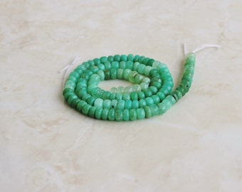 Outstanding Green Chrysoprase Gemstone Smooth Rondelle 3.5mm 90 beads 1/2 strand