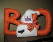 Primitive Handcrafted Halloween Boo Ghost Shelf Sitter Ornie Tuck Ornament
