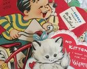 5 Vintage Used Valentines great for scrap booking