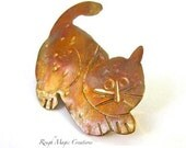 Cat Brooch, Animal Lover Gifts, Cute Kitty Cat Jewelry, Rustic Copper Pin for Cat Fanciers