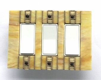 Decora Rocker Wall Plate, Yellow Light Switch Cover, Stained Glass Mosaic, Glass Switchplate, Dimmer Switch, Decorative Switch Plate, 8424
