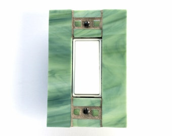 Green Wall Plate, Stained Glass Switchplate, Decorative Switch Plate, Light Switch Cover, GFI GFCI Outlet, Decora Switch, Mosaic, 8244