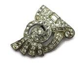 Vintage Art Deco Dress Clip - AS IS Rhinestone Costume Jewelry