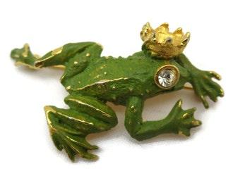 Frog Prince Brooch - Rhinestone Eye, Figural, Enamel Painted