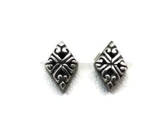 Sterling Silver Earrings - Etruscan Revival Stud Earrings, Simple Minimalist Jewelry