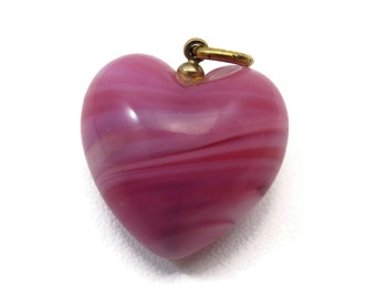 Pink Puffy Heart Pendant - Pink Glass Fob Charm
