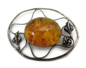 Sterling Amber Brooch - Silver, Roses Jewelry, Genuine Amber Jewelry