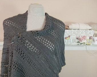 Knit Shawl, Wrap, or Oversized Scarf in Eyelet Pattern of Slate Grey Cotton/Acrylic Blend Yarn (Vegan) - Item 1478