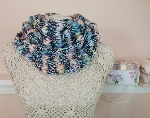 """Fluffy Hand Knit Cowl: Lightweight Cowl """"Clouds at Dusk"""" - Item 952"""
