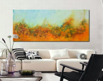 Abstract original Painting, Large Acrylic painting, abstract landscape, blue and orange painting, modern landscape, modern abstract art