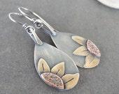 Sale-Rustic Boho Dangle OOAK Sterling Silver-Sun Flower Artisan Earrings.