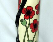 Tall Slim Free Formed Ceramic Impressionistic Red Poppy Bud VASE  Sculpted Top Hand painted on Etsy