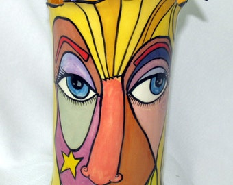 Free Formed Fluted Hand painted Ceramic Picasso Styled Face VASE on Etsy