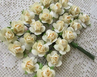 Paper Millinery Flowers 24 Petite Roses In French Vanilla