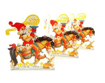 Sweden Paper Running Frieze Lithograph Die Cut Christmas Gnome Tabletop Garland  FRZ 21